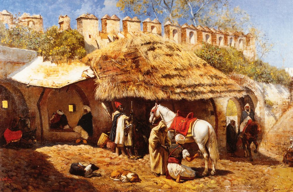 Blacksmith Shop at Tangiers :: Edwin Lord Weeks - Horses in art фото