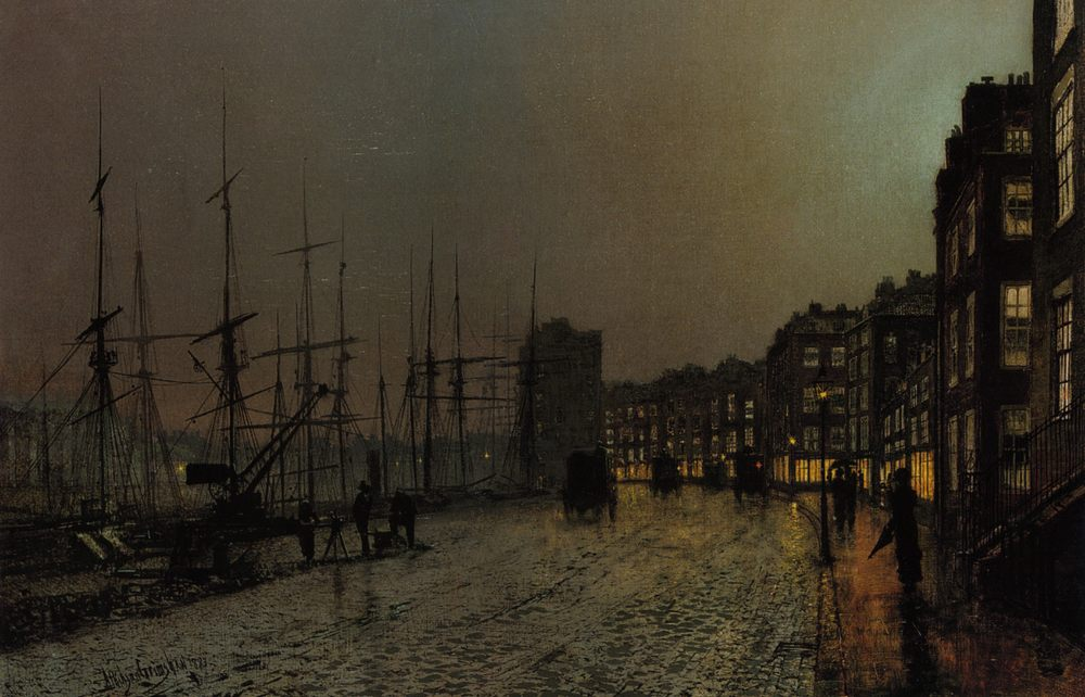 Shipping on the Clyde :: John Atkinson Grimshaw - Sea landscapes with ships фото