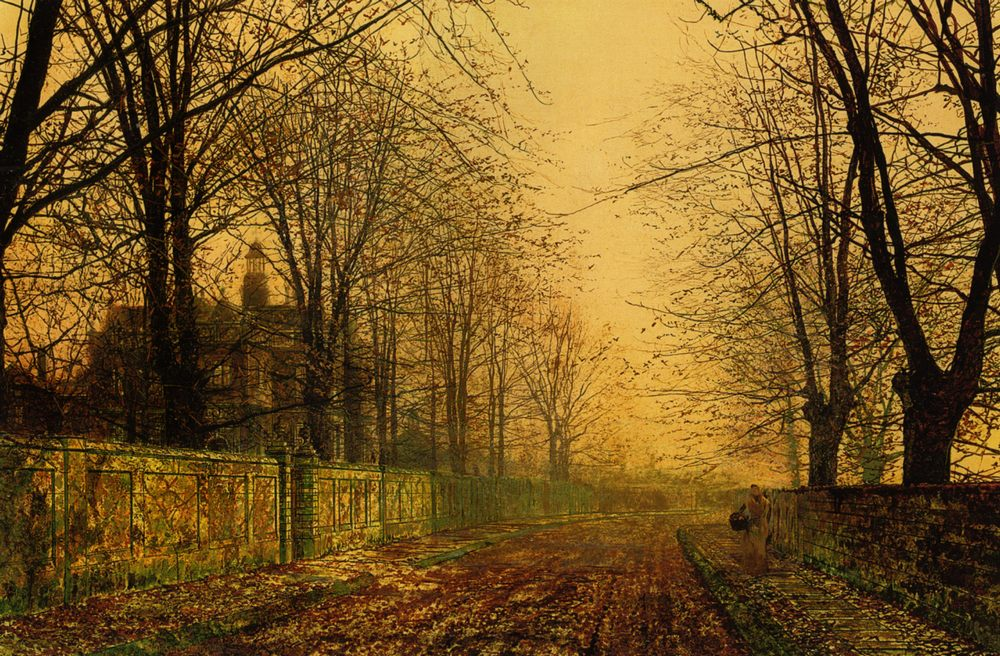 The Sere and Yellow Leaf :: John Atkinson Grimshaw - Sunset and sunrise, sundown фото