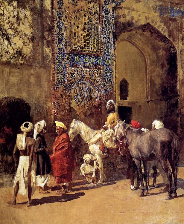 Blue-Tiled Mosque At Delhi, India :: Edwin Lord Weeks - Oriental architecture фото