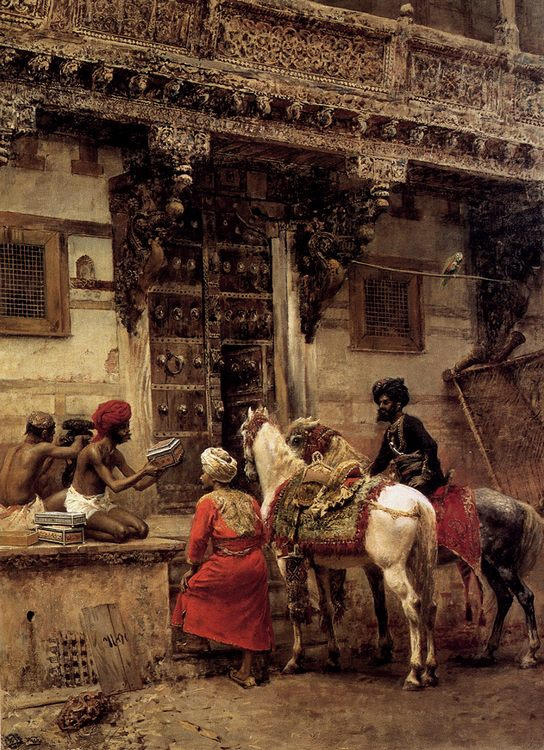 Craftsman Selling Cases By A Teak-Wood Building, Ahmedabad :: Edwin Lord Weeks - Street and market genre scenes ôîòî