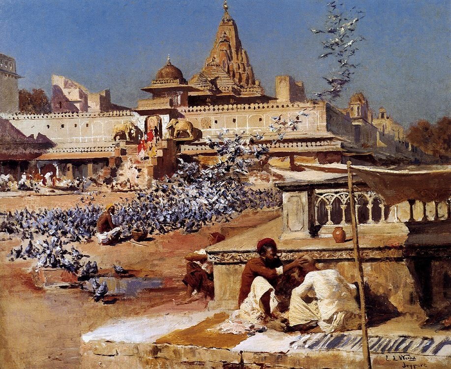 Feeding The Sacred Pigeons, Jaipur :: Edwin Lord Weeks - Oriental architecture ôîòî