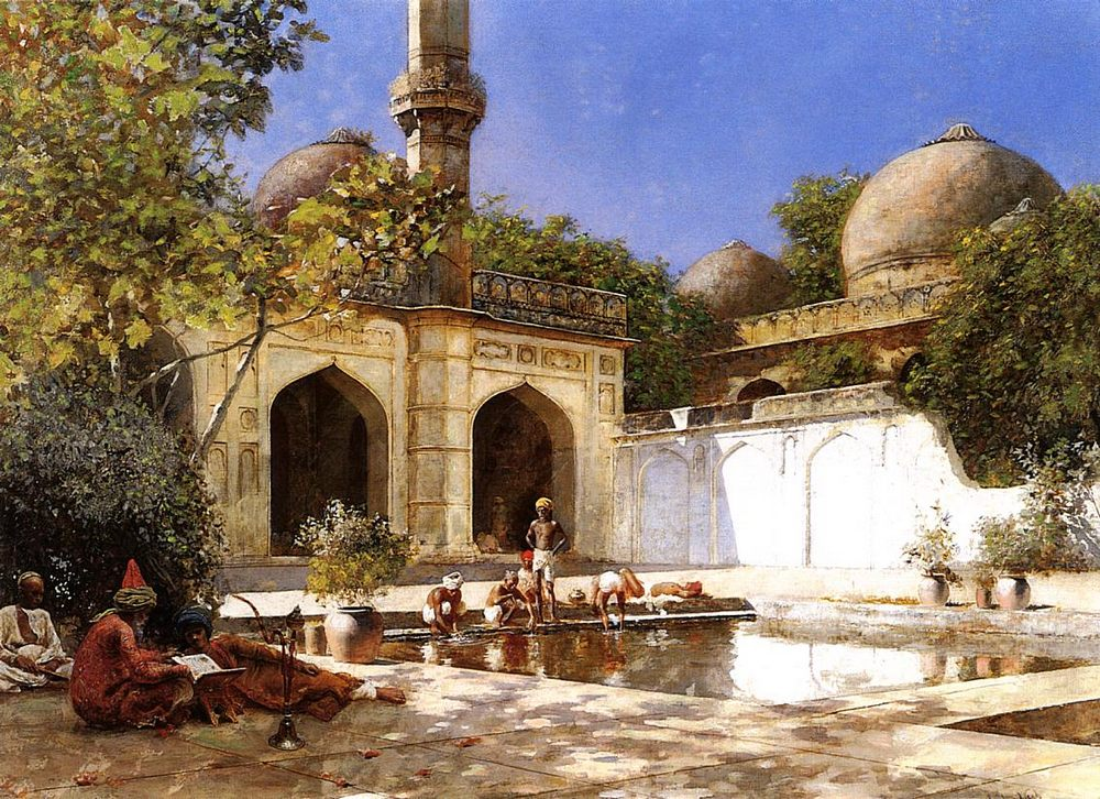 Figures in the Courtyard of a Mosque :: Edwin Lord Weeks - Oriental architecture фото