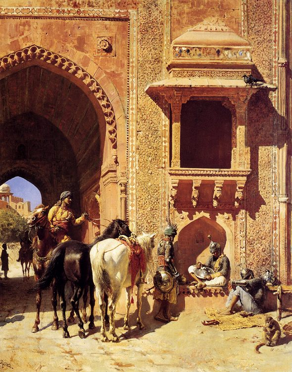 Gate Of The Fortress At Agra, India :: Edwin Lord Weeks - Oriental architecture фото
