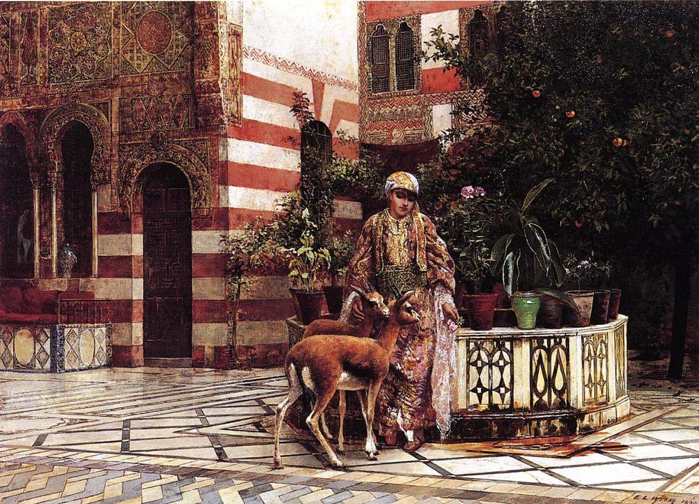 Girl in a Moorish Courtyard :: Edwin Lord Weeks - Oriental architecture ôîòî
