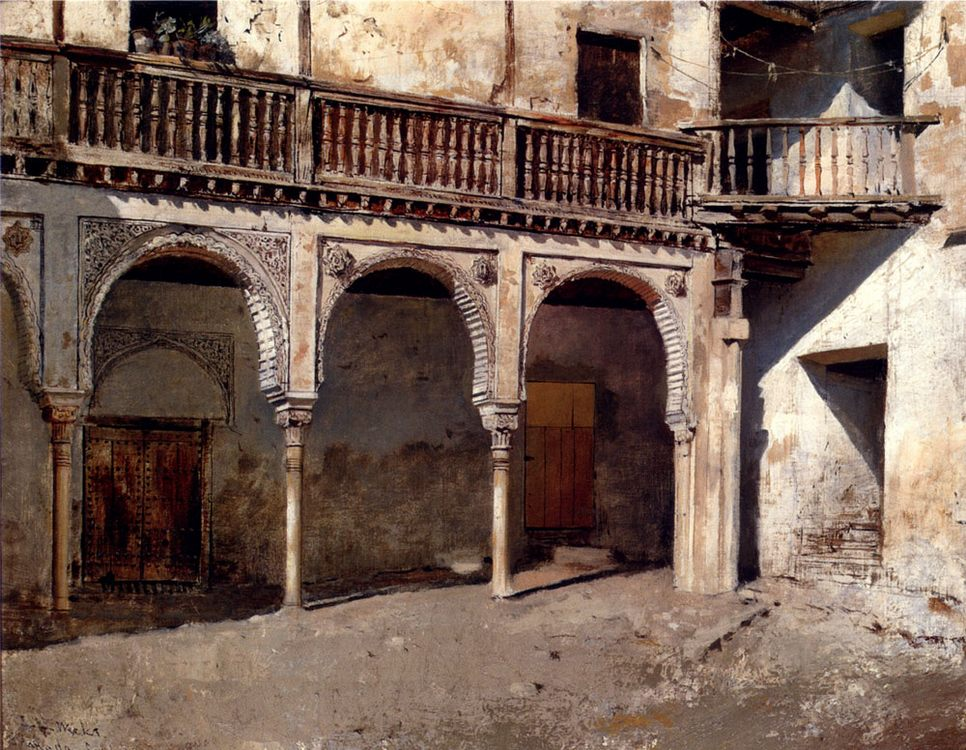 Granada Courtyard :: Edwin Lord Weeks - Oriental architecture фото
