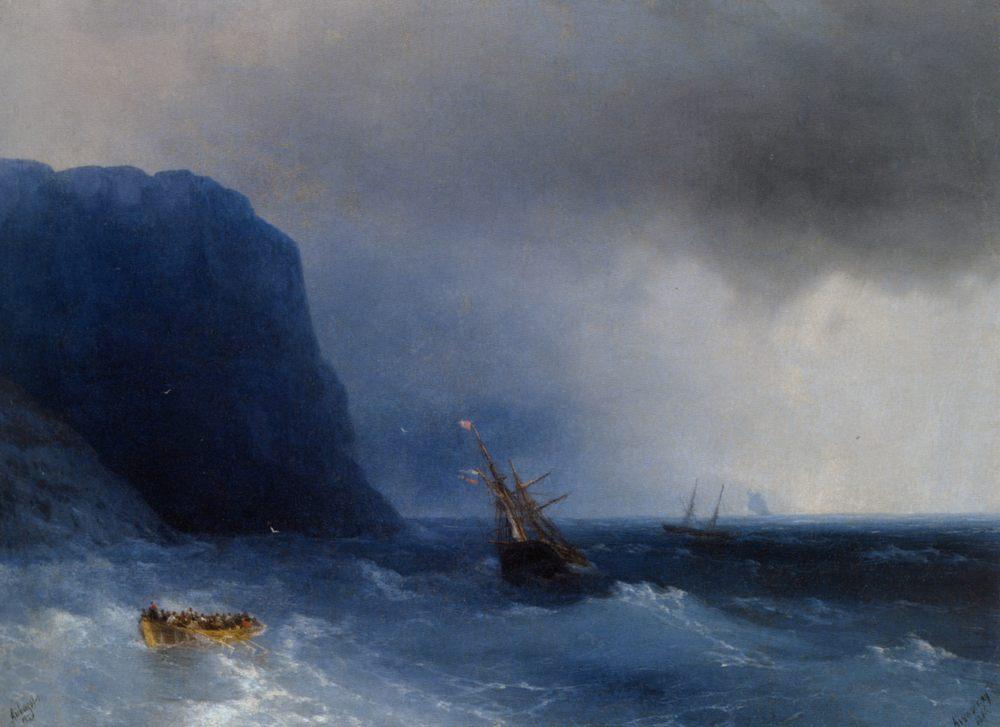 The Survivors :: Ivan Constantinovich Aivazovsky - Seascape with ships фото