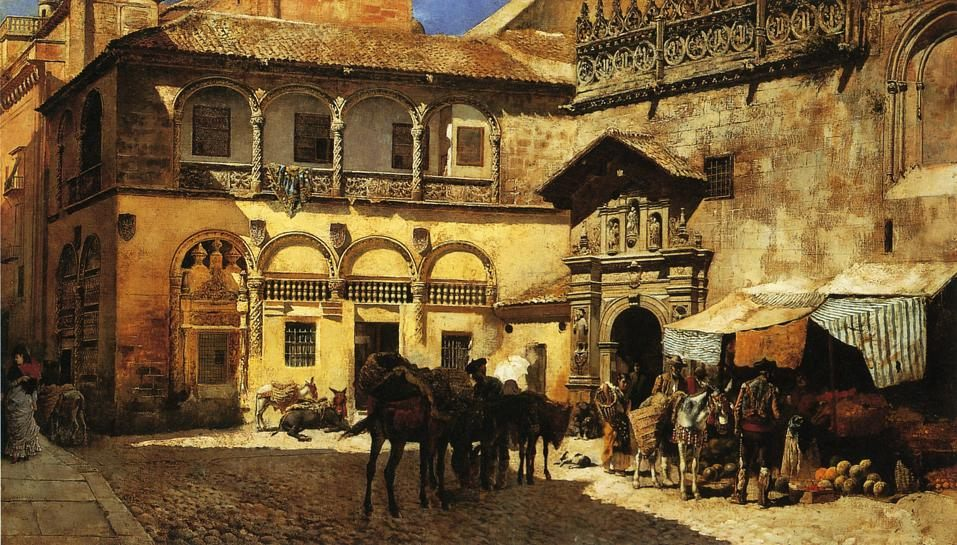 Market Square in Front of the Sacristy and Doorway of the Cathedral, Granada :: Edwin Lord Weeks - Architecture ôîòî