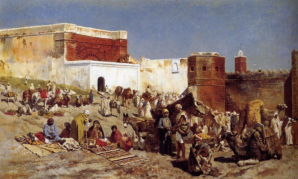 Moroccan Market :: Edwin Lord Weeks - Street and market genre scenes фото