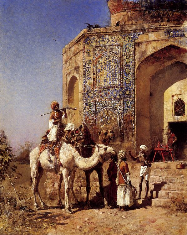 Old Blue-Tiled Mosque, Outside of Delhi, India :: Edwin Lord Weeks - Oriental architecture фото