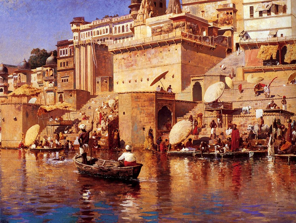On The River Benares :: Edwin Lord Weeks - Oriental architecture фото