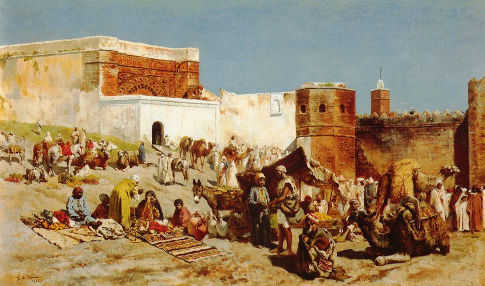 Open Market, Morocco :: Edwin Lord Weeks - Street and market genre scenes фото