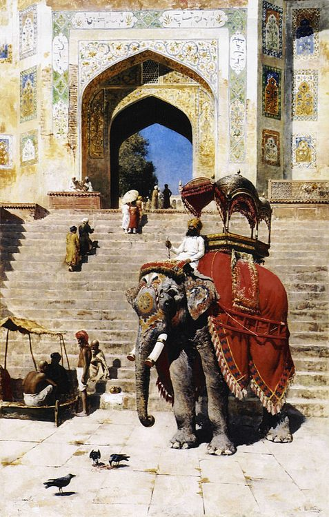 Royal Elephant at the Gateway to the Jami Masjid, Mathura :: Edwin Lord Weeks - Oriental architecture фото