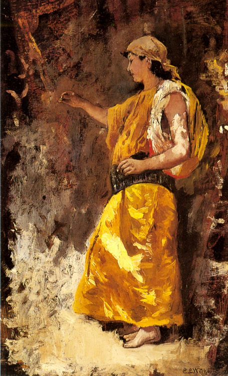 Standing Arab Woman :: Edwin Lord Weeks - Arab women ( Harem Life scenes ) in art  and painting фото