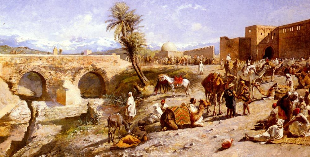 The Arrival Of A Caravan Outside Marakesh, The Mountains Of Atlas In The Distance :: Edwin Lord Weeks - scenes of Oriental life (Orientalism) in art and painting ôîòî