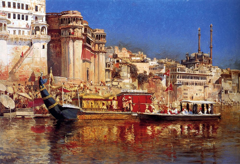 The Barge Of The Maharaja Of Benares :: Edwin Lord Weeks - Oriental architecture фото