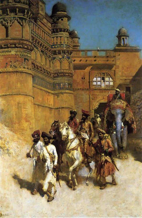 The Maharahaj of Gwalior Before His Palace :: Edwin Lord Weeks - Oriental architecture фото