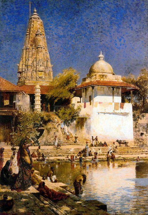 The Temple and Tank of Walkeschwar at Bombay :: Edwin Lord Weeks - scenes of Oriental life (Orientalism) in art and painting ôîòî