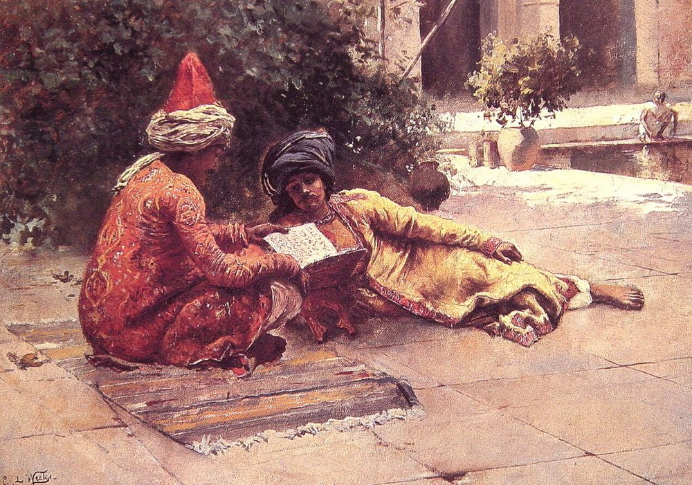 Two Arabs reading in a Courtyard :: Edwin Lord Weeks  - scenes of Oriental life ( Orientalism) in art and painting фото