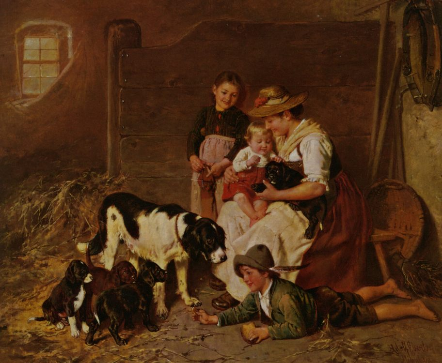 New Puppies :: Adolf Eberle - Woman and child in painting and art фото