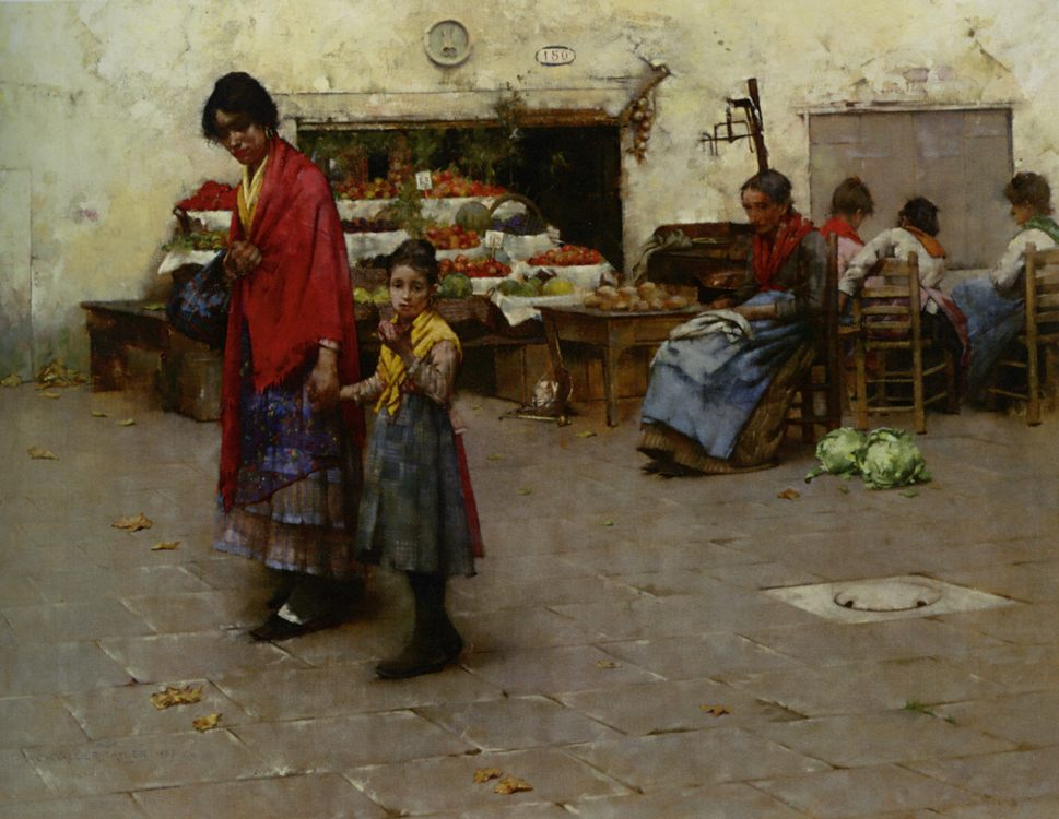 Day at the Market :: Albert Chevallier Tayler - Street and market genre scenes фото