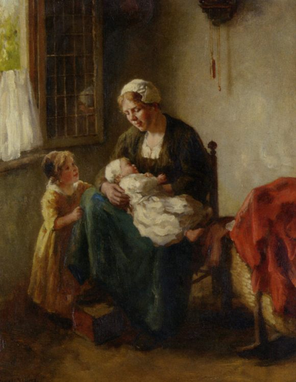 The Happy Mother :: Bernard de Hoog - Woman and child in painting and art фото