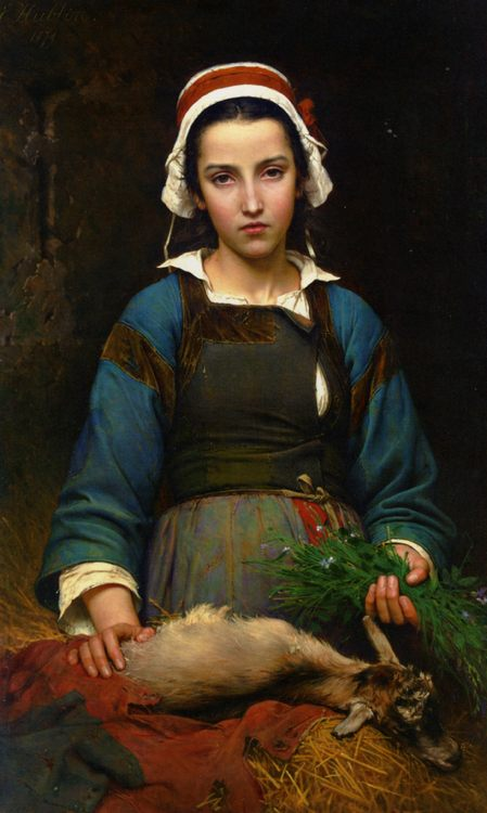 A Friend in Need :: Emile Auguste Hublin - Portraits of young girls in art and painting фото