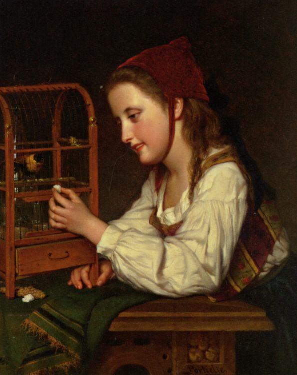 Feeding the Bird :: Jan Portielje - Portraits of young girls in art and painting ôîòî