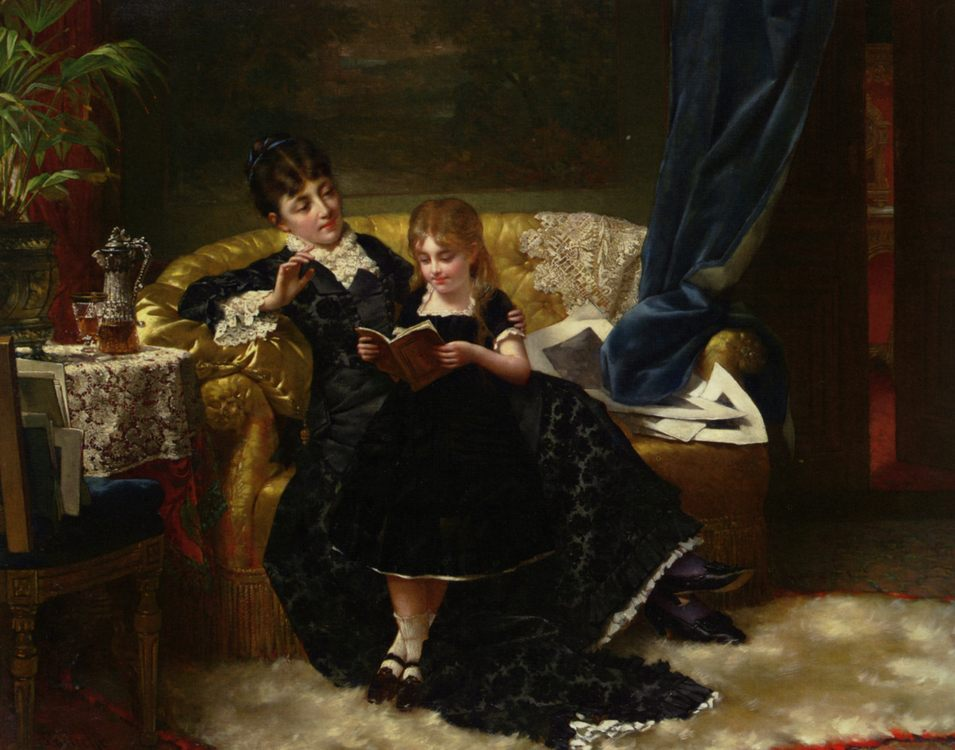 Reading Together :: Jan Portielje - Woman and child in painting and art фото