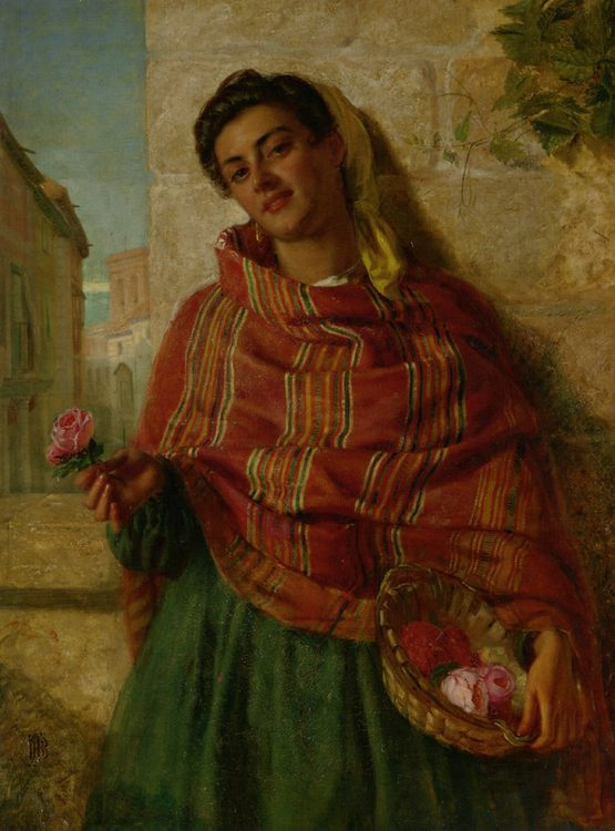 Young Beauty Holding a Rose :: John Bagnold Burgess - Young beauties portraits in art and painting фото