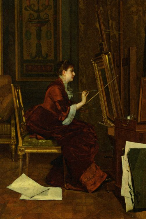The Artist in Her Studio :: Jules Adolphe Goupil - Rich interiors ôîòî