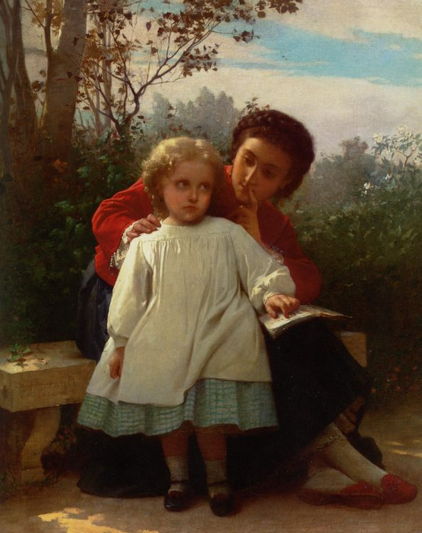 Reading Lesson :: Le'on Bazile Perrault - Children's portrait in art and painting ôîòî