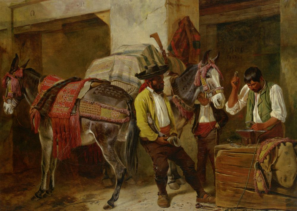 At The Blacksmiths Shop :: Richard Ansdell - Street and market genre scenes ôîòî