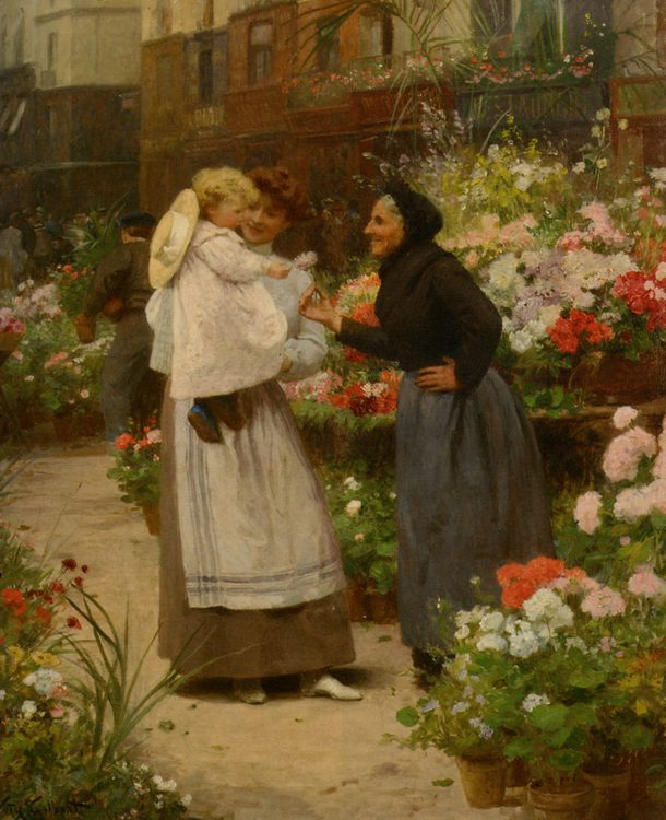 Flower offering to a child  :: Victor Gabriel Gilbert - Street and market genre scenes фото