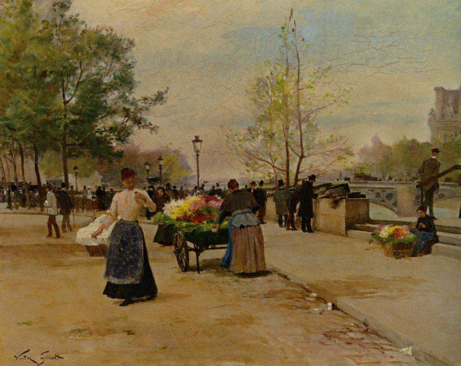 Flower Sellers :: Victor Gabriel Gilbert - Street and market genre scenes ôîòî