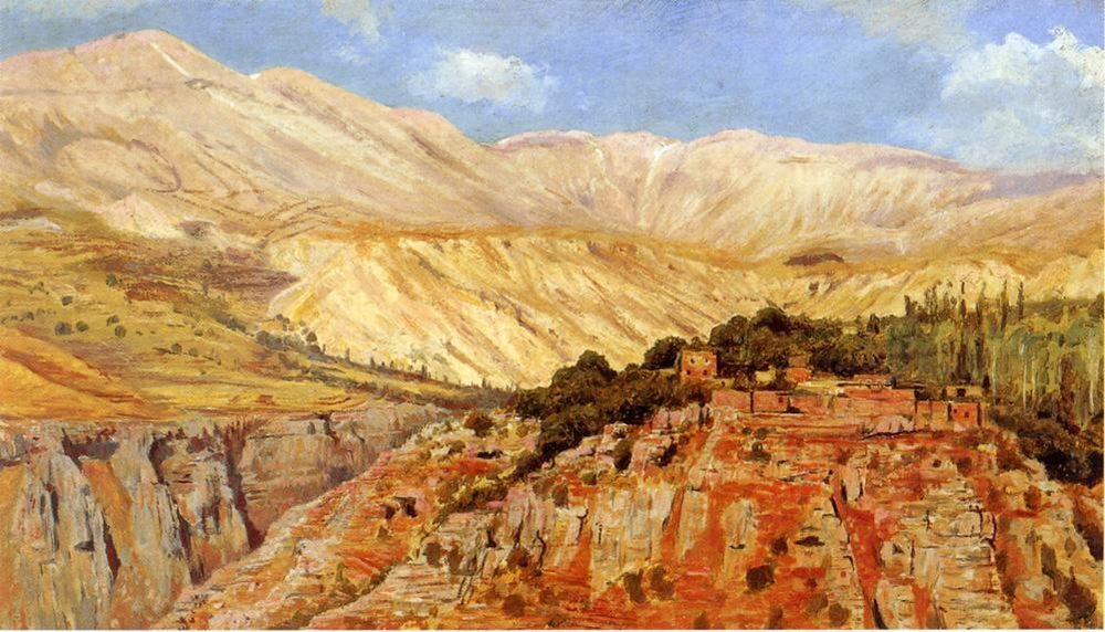Village in Atlas Mountains, Morocco :: Edwin Lord Weeks - Mountain scenery фото