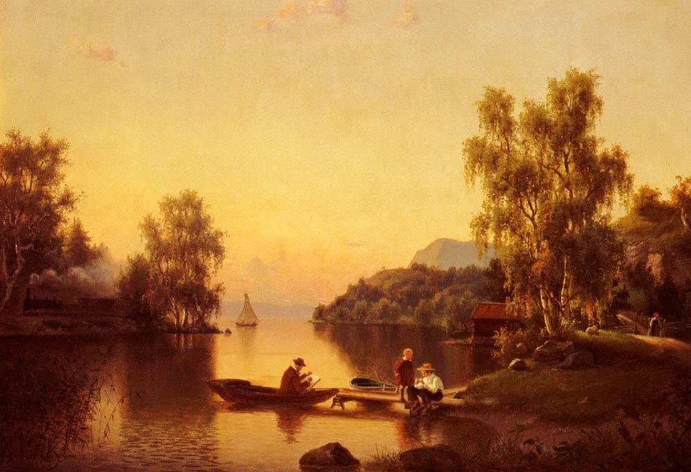 Sketching on the Lake :: Ehrnfried Wahlquist - River landscapes ôîòî