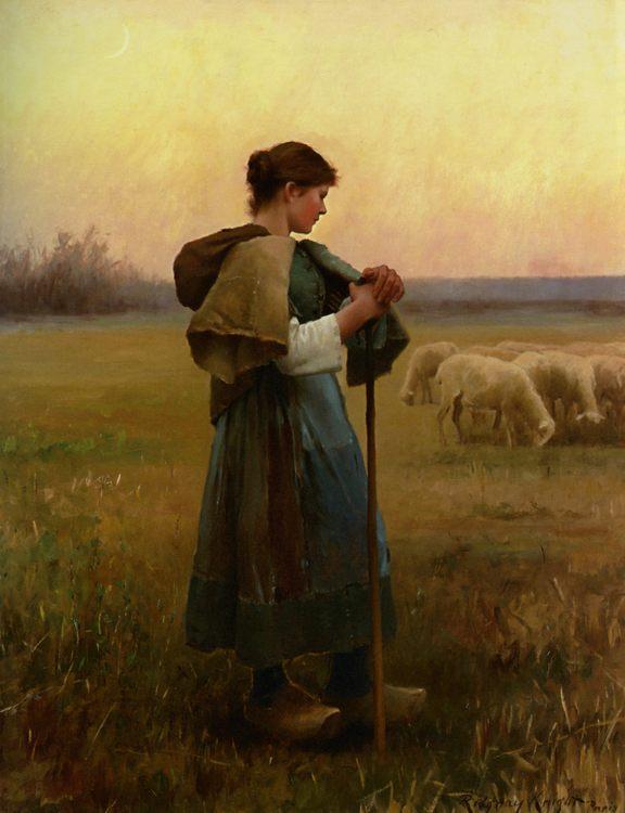 The Young Shepherdess :: Daniel Ridgway Knight - Village life ôîòî