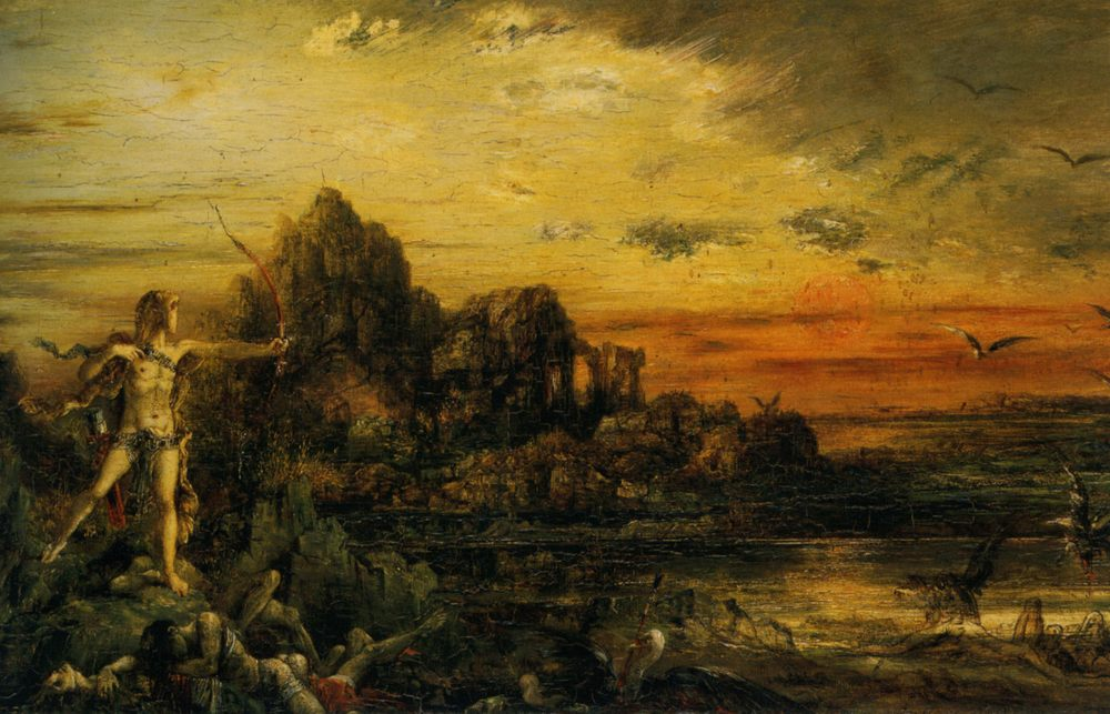 Hercules at the Lake Stymphale :: Gustave Moreau - mythology and poetry фото
