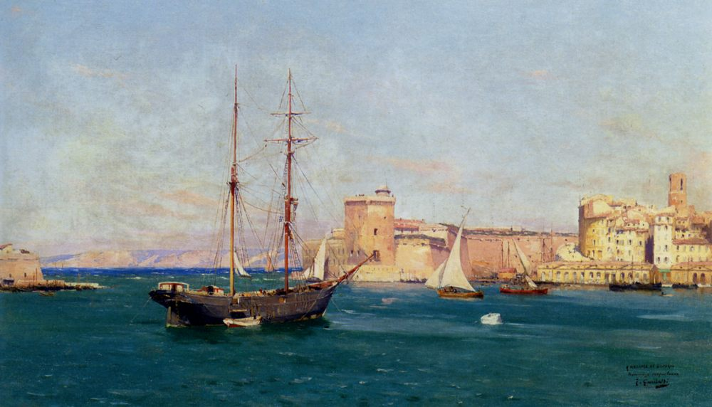 The harbour of Marseille :: Joseph Garibaldi - Sea landscapes with ships фото