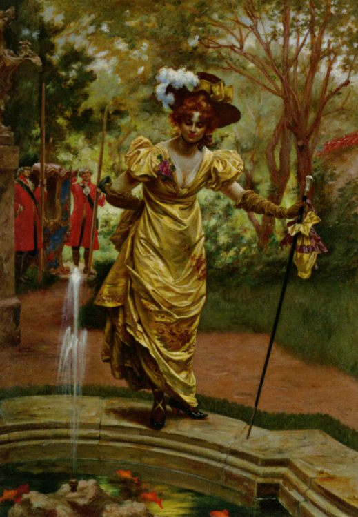 An Elegant Lady by a Goldfish Pond :: Karl Gampenrieder - Picnic фото