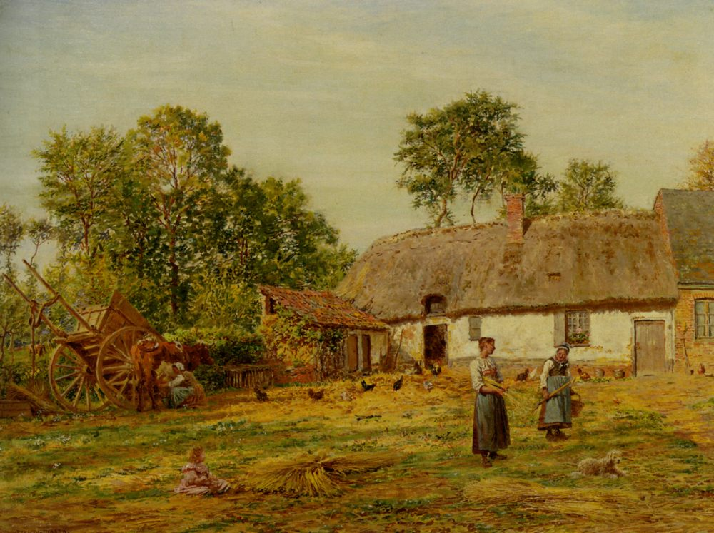 The Farmyard :: Marie-Francois Firmin-Girard - Summer landscapes and gardens ôîòî