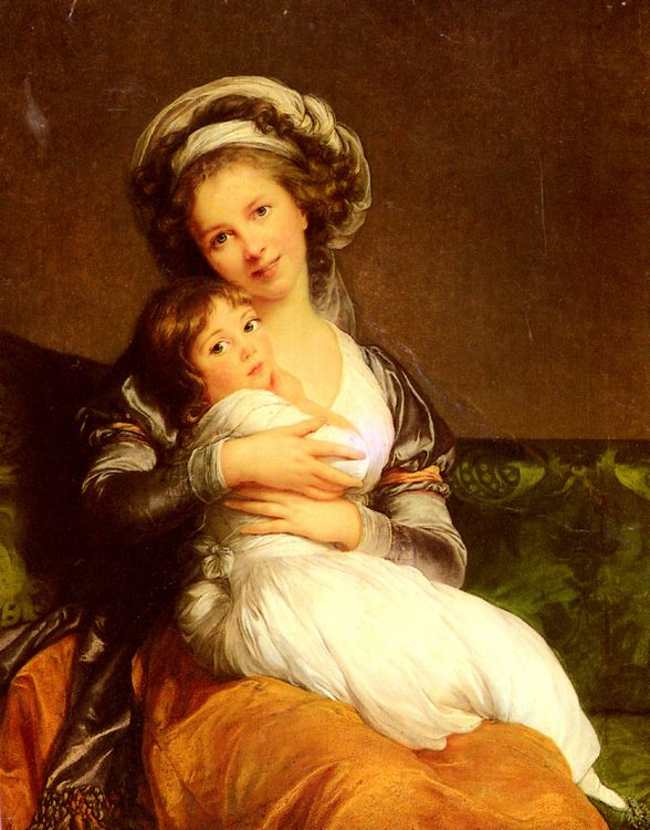 Madame Vigee-Lebrun and her daughter, Jeanne-Lucie-Louise :: Elisabeth Louise Vigee Le Brun  - 4 women's portraits 18th century hall фото