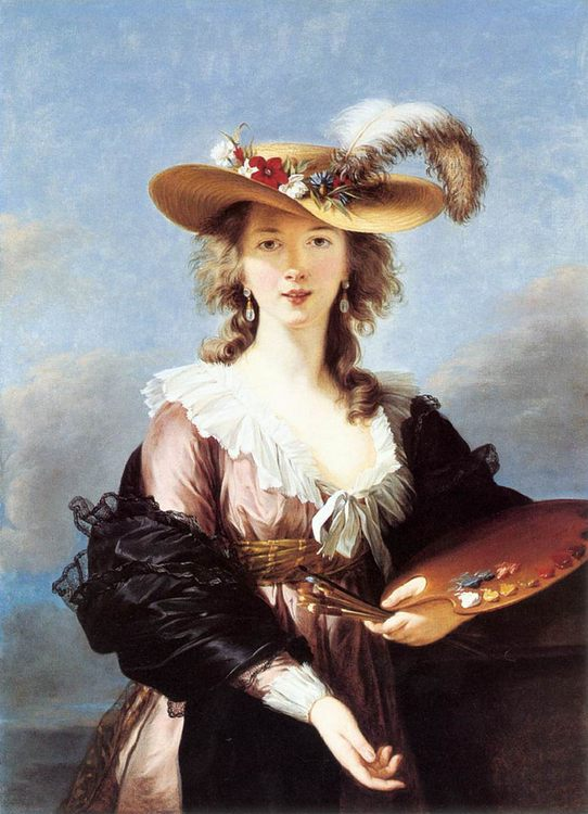 Self Portrait in a Straw Hat :: Elisabeth Louise Vigee-Le Brun - 4 women's portraits 18th century hall фото