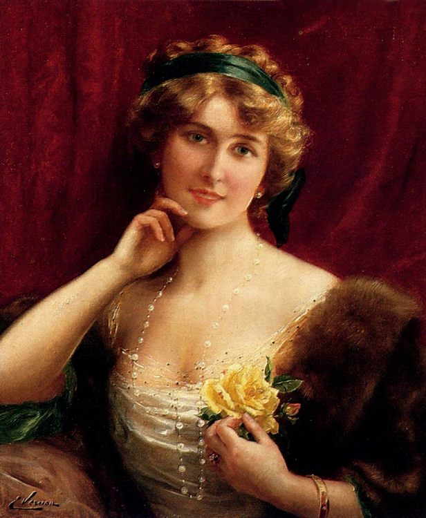 An Elegant Lady With A Yellow Rose :: Emile Vernon - Young beauties portraits in art and painting фото