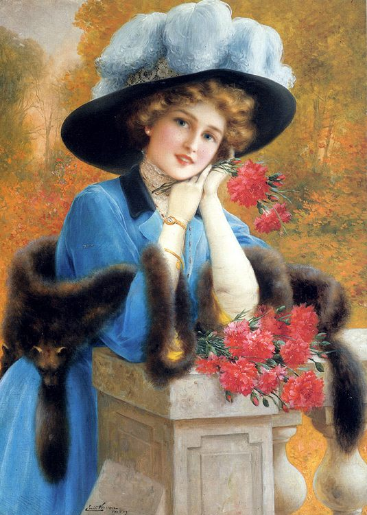 Carnations Are For Love :: Emile Vernon - Young beauties portraits in art and painting ôîòî