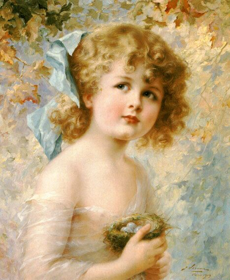 Girl Holding a Nest :: Emile Vernon - Portraits of young girls in art and painting фото