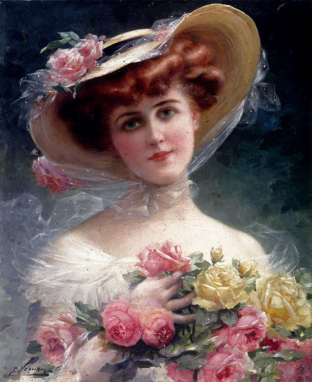 The beauty with colours :: Emile Vernon - Young beauties portraits in art and painting ôîòî