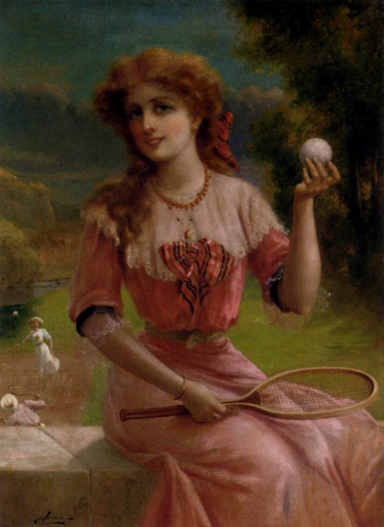 Tennis Anyone :: Emile Vernon - Young beauties portraits in art and painting ôîòî