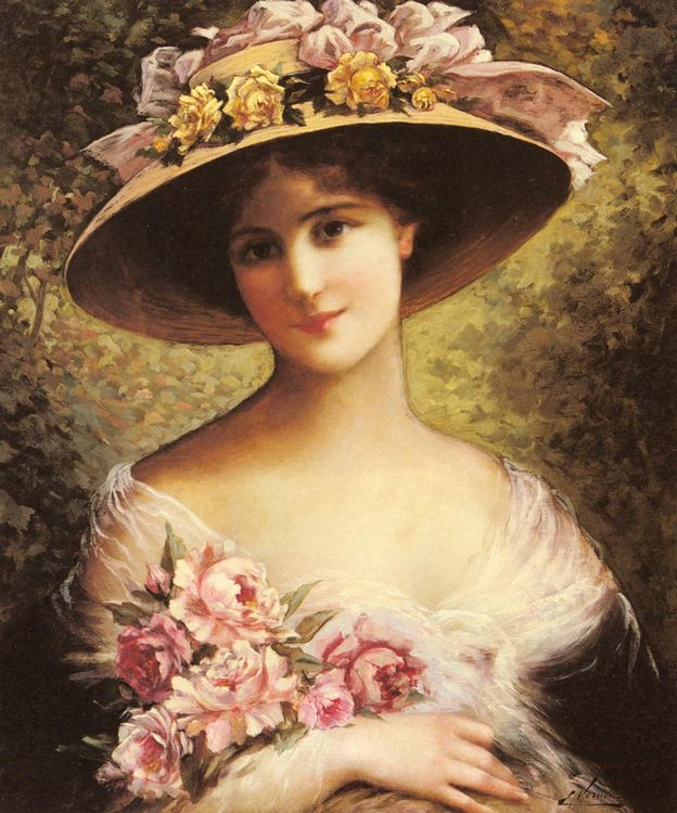 The Fancy Bonnet :: Emile Vernon - Young beauties portraits in art and painting ôîòî